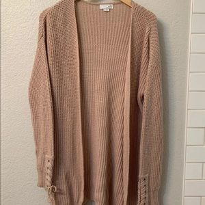 muted pink cardigan